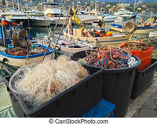 Fishing net, floats, nylon rope used in fishing industry in...