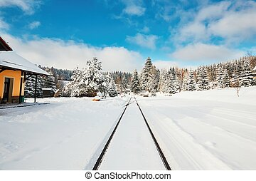 Old railway station in winter. Kubova Hut is the highest...