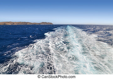 landscape of Aegean sea and greywater as seen from the ship