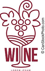 Wine logo templates. Bottle, glass, bunch of grapes. Vintage...