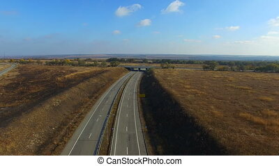 Flying Over The Highway Quadrocopters - Flight Quadrocopters...
