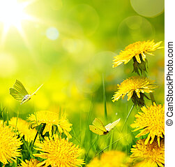art spring flower background; fresh flower on green grass...