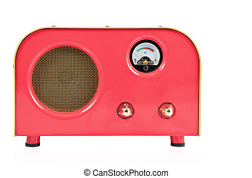 Red retro speaker on white