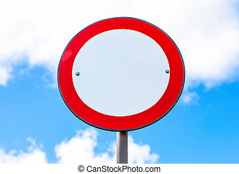 Road sign on a blue sky background