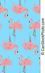 Seamless texture of pink flamingos with watercolor splashes on a blue background. Vector background for your creativity