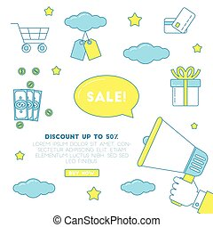 Big sale illustration, vector banner for discount promotion...