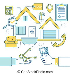 Line design illustration of buying a house, realtor and...