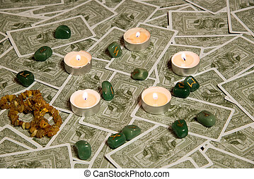 Tarot cards and burning candle - Moscow, Russia - December...