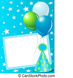 Blue Birthday card - Blue birthday card with balloons, hat...