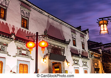 Historical center streets of Huangshan city. - Sunset view...