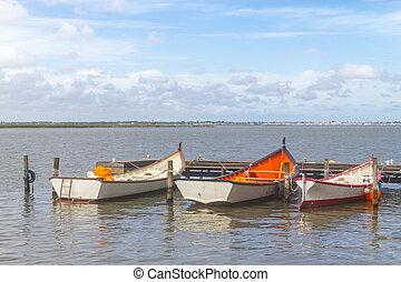 Boats anchored in Lagoa do Patos lake - Boats anchored at...