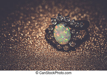 White Opal Ring Filtered - Fashion ring decorated with white...