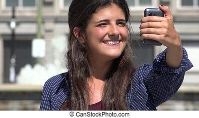 Pretty Urban Woman Selfie