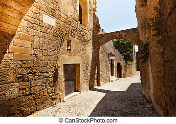 Medieval avenue of the Knights on Rhodes Island