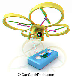 Drone with remote controller. Anaglyph. View with red/cyan...