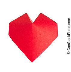 Red 3d heart of origami. - Red 3d heart of origami, isolated...