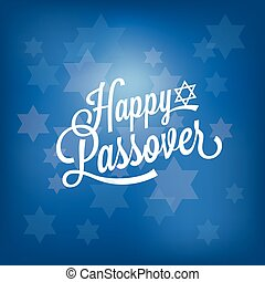 happy passover card with blue bokeh background