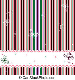 Striped background with white frame and butterflies vector