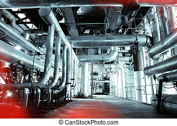Blue toned interior industrial background.