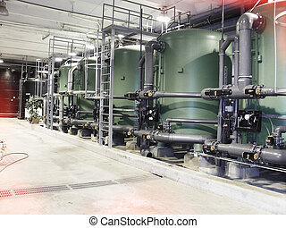 water treatment tanks at power plant - water treatment tanks...