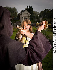 Self defense - Victorian lady defending herself against an...