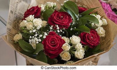 Bouquet of beautiful red and white roses