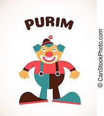 happy Purim, Jewish holiday. vector illustration of a clown