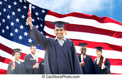 happy students in mortarboards with diplomas - education,...
