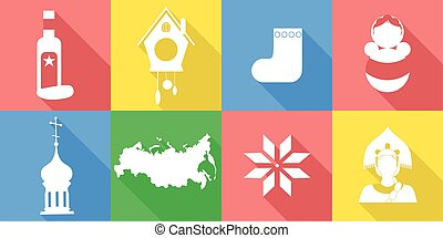 russia flat design - set of icons in the style of a flat...