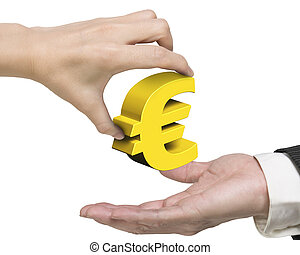 Woman hand giving golden Euro symbol to man hand - Woman...