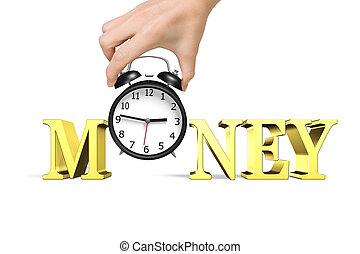 Time is money concept. Woman hand holding alarm clock with...