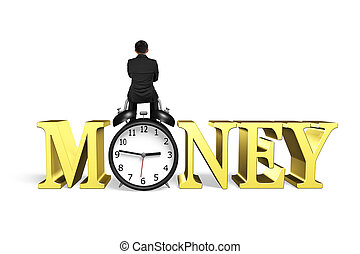 Time is money concept. - Man sitting on alarm clock with...