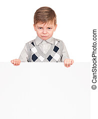 Little boy peeking from blank board