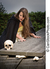Scary skull - Young woman finding a skull on a broken...