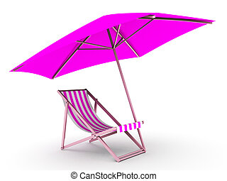 sunlounger - 3d rendered illustration of a deck chair under...