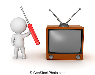 3D Character with Retro TV and Screwdriver - 3D character...