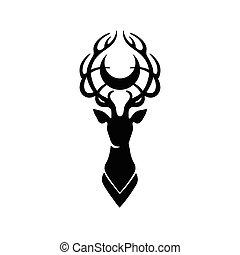 Deer silhouette and moon - Deer silhouette with moon over...