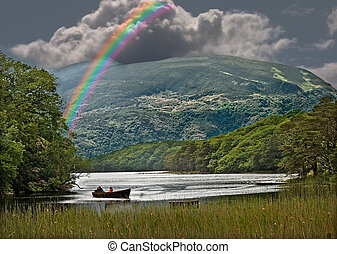 Rainbow over the Lough - A rainbow over a lough in...