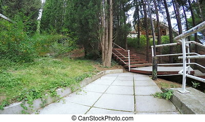Stairs in citys park - Granite staircase in park recreation...