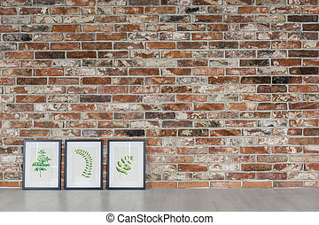 Brick wall and leaves paintings - Red brick wall and...