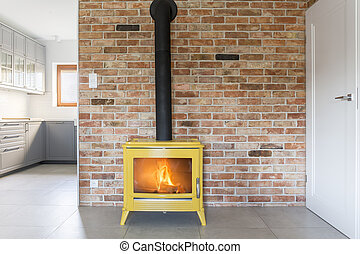 Loft with brick wall - Loft with red brick wall and yellow...