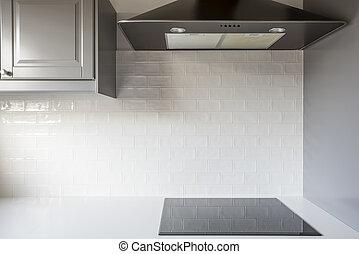 Kitchen with white brick tiles - Kicthen with white brick...