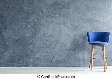 Blue counter stool - Interior with blue counter stool and...