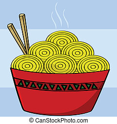 Bowl of noodles - Cartoon illustration of a bowl of noodles...
