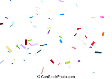 confetti over white background - party, decoration and...