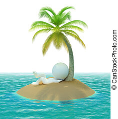 3d small people - island - 3d small people on has a rest a...