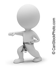 3d small people - karate. 3d image. Isolated white...