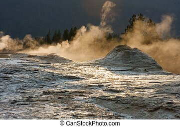 Yellowstone National Park - Geyser in Yellowstone National...