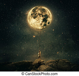 pulling moon - Imaginary view as a young man, holding a...