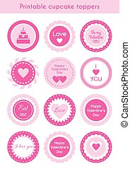 Set of printable cupcake toppers Valentines day - Vector set...